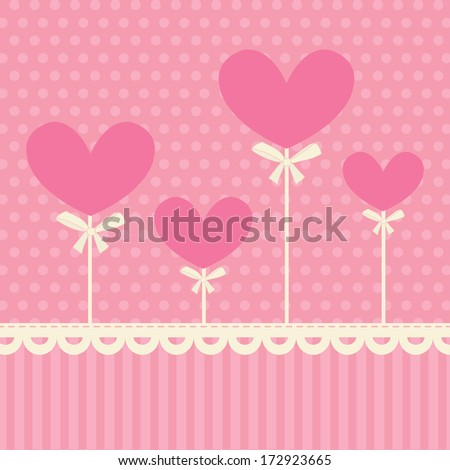 Cute pink card with hearts.  Pink background, polka dot, white lace and hearts. Ideal for scrap booking, celebration card, Valentines postcard, invitation. - stock vector
