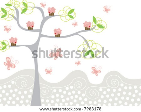 cute pink cupcakes on a tree (vector) - stock vector