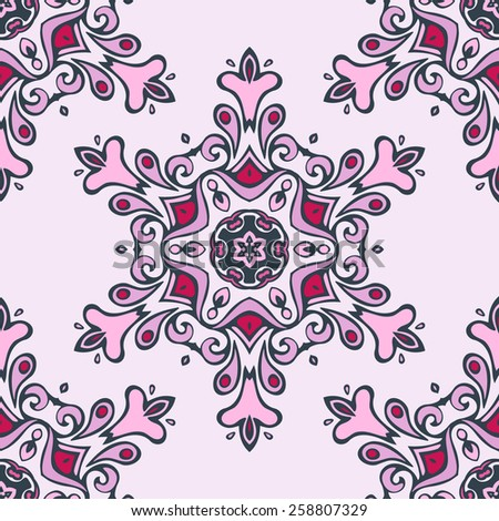 cute pink  floral snowflake vector seamless pattern - stock vector