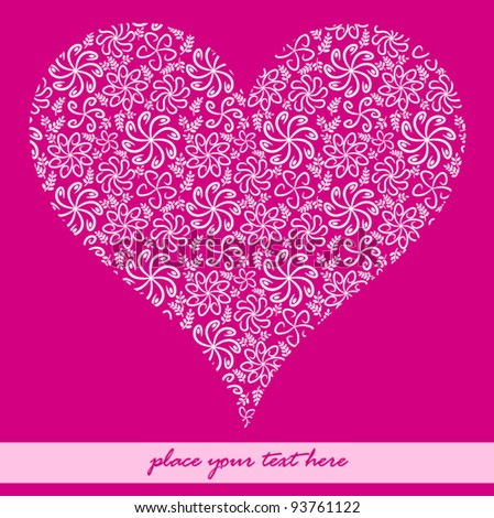 Cute pink floral Valentine's day Heart - stock vector