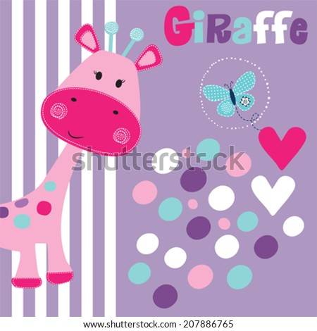 cute pink giraffe with butterfly vector illustration - stock vector
