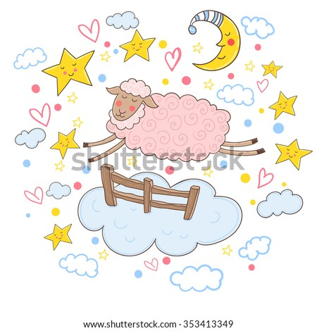 Cute pink sheep jumping over the fence. Vector illustration. - stock vector