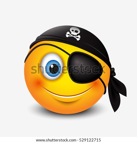 Cute pirate smiley wearing black pirate scarf and eye patch - emoticon, emoji - vector illustration