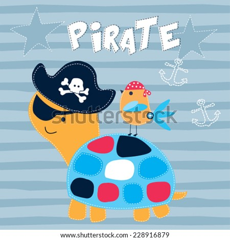 cute pirate turtle with bird striped background vector illustration - stock vector