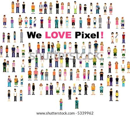 cute pixel people version 2 - stock vector