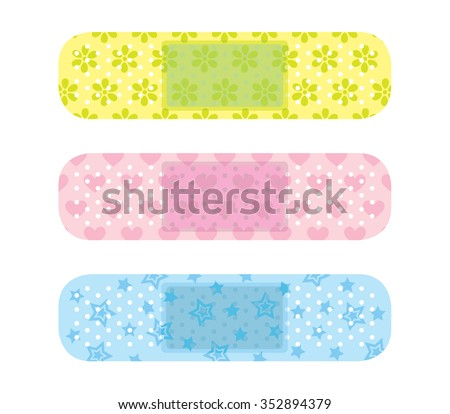 Cute plaster Flowers, hearts, stars - stock vector