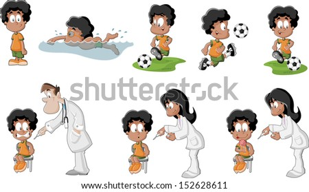 Cute playful cartoon black boy playing soccer, football, swimming, and getting an injection in arm.   - stock vector