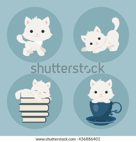 Cute playful kittens icons set. Vector cartoon illustrations.
