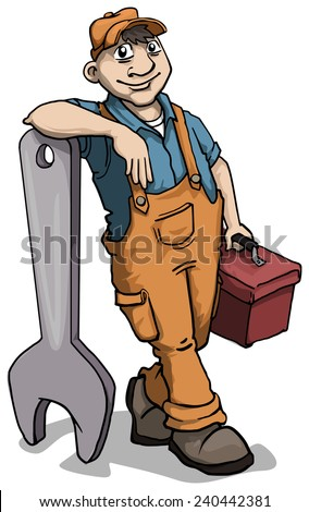 Cute plumber male character leaning on a giant wrench, vector illustration - stock vector