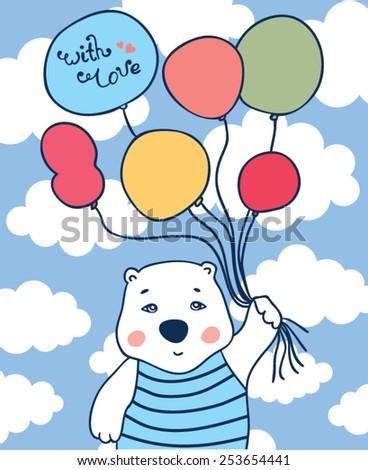 Cute polar bear and balloons, beautiful greeting card - stock vector