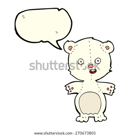 cute polar bear cartoon with speech bubble - stock vector