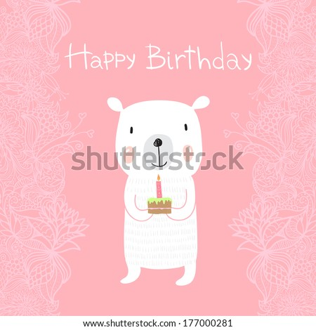 Cute polar bear holds a birthday cake with a candle. Greeting card Happy Birthday - stock vector