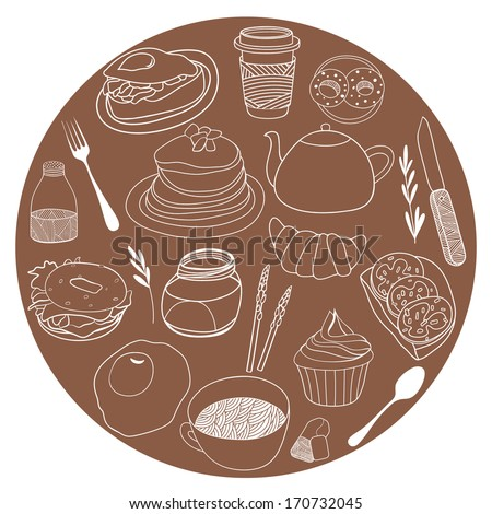 Cute poster for kitchen and cafe. Food icons collected in the circle. Vector illustration set - stock vector