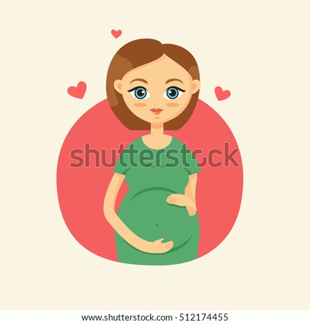 Cute pregnant woman caressing her belly