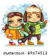 Cute pretty girl and boy wearing colorful clothes, holding snowboard walking outside on the winter day in the snow. - stock vector
