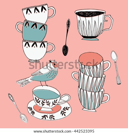 Cute Print Design with Cups and Bird - stock vector