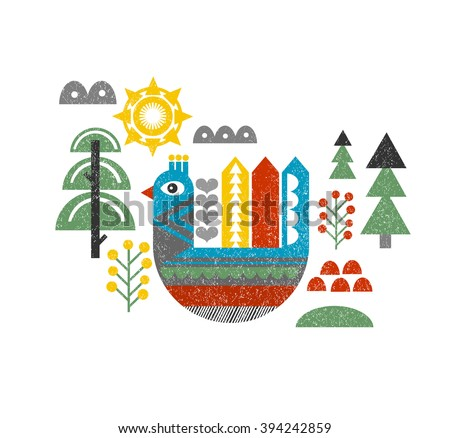 Cute print with bird in the forest. Vintage vector illustration in scandinavian style. - stock vector