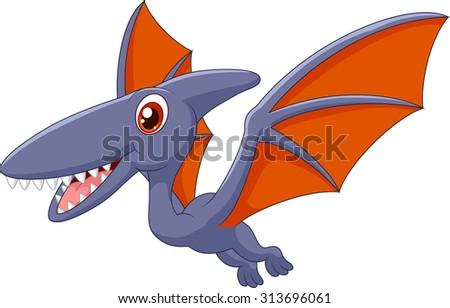 Cute pterodactyl cartoon  - stock vector