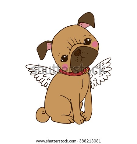 Cute Pug with wings. Dog. Isolated objects on white background. - stock vector