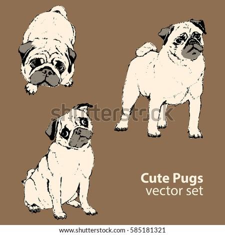 Cute pugs vector set