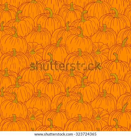 Cute pumpkin seamless pattern. Different hand drawn cartoon vegetables. Colorful objects. - stock vector