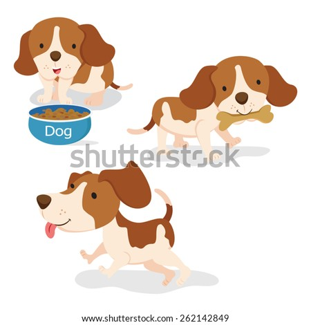 Cute puppies. Young puppies isolated on white background. - stock vector