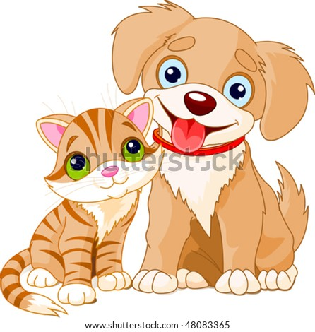 Cute Puppy and Kitten Best Friends Ever - stock vector