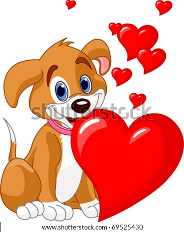 Cute puppy holding a red heart in her mouth. Add your own text. - stock vector