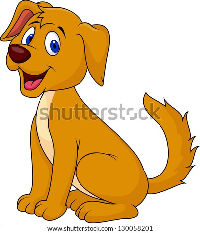 Cute puppy sitting - stock vector