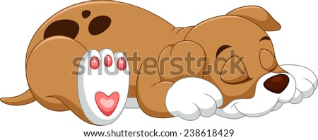 Cute puppy sleeping - stock vector