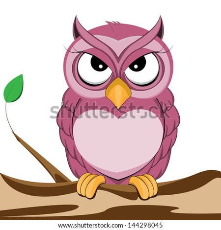 cute purple owl of vector - stock vector
