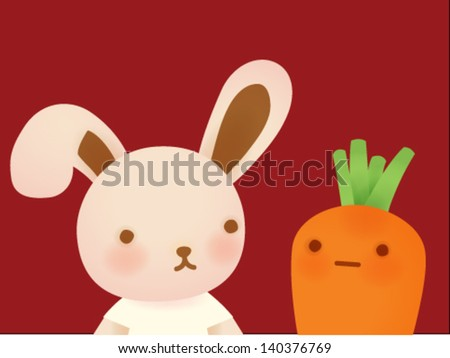 Cute Rabbit and Carrot - Vector File EPS10 - stock vector