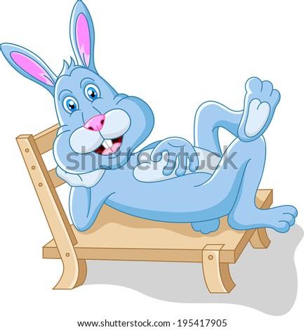 Cute rabbit cartoon on the seat  - stock vector