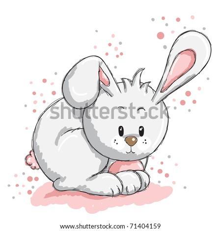 Cute rabbit - pink details - stock vector