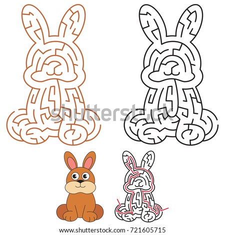 cute rabbit the labyrinth simple horizontal maze for nerdy children search hidden way - Hidden Pictures For Children