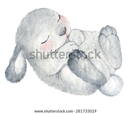 cute rabbit vector watercolor hand drawing sketch Illustration - stock vector