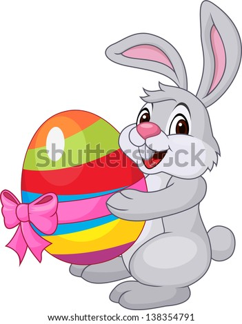 Cute rabbit with Easter egg - stock vector