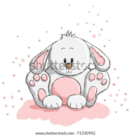 Cute rabbit with pink details - stock vector