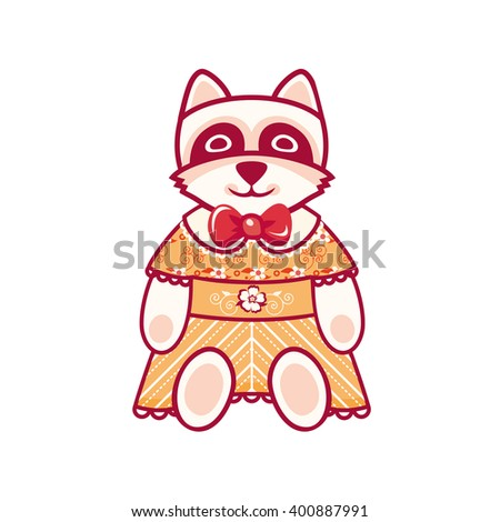 Cute Raccoon. Vector illustration on white background.