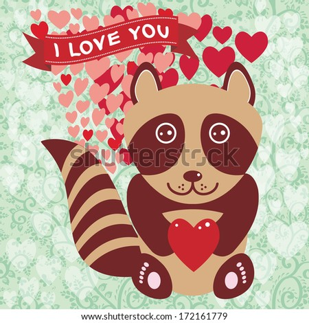 Cute raccoon with red heart. Valentine's day card, greeting card. vector Original invitation, greeting of Valentine's Day, wedding with text box. Romantic decorative cute illustration in cartoon style