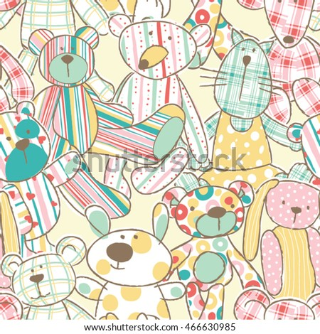 Cute rag toys vector seamless pattern