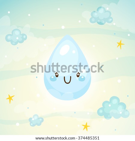 Cute rain drop, sunny day, children's illustration, vector. - stock vector