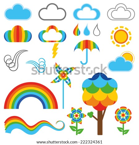 Cute rainbow styled weather symbols, with tree and flowers (vector) (jpg available) - stock vector