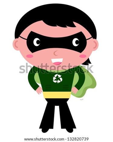 Cute recycle Superhero boy isolated on white - stock vector