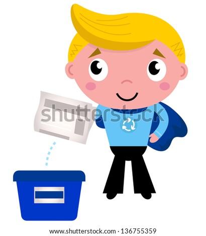 Cute recycle superhero boy separating garbage - stock vector