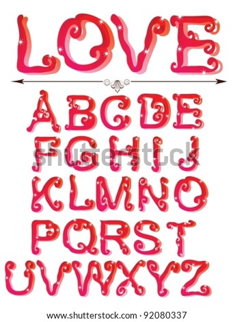 Cute red alphabet, ABC, vector - stock vector