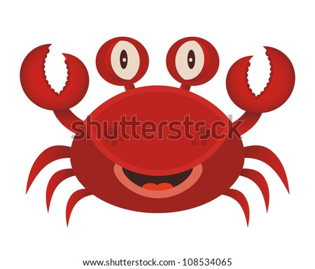 Cute red crab cartoon. - stock vector