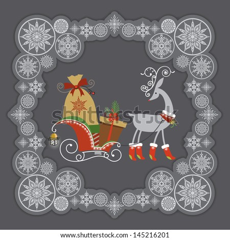 Cute red nosed reindeer in red boots, sleigh full of Christmas gifts. Silver color snowflakes frame. Vector EPS 10 illustration.   - stock vector