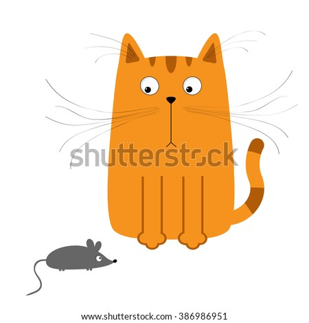 Cute red orange cartoon cat looking at mouse. Big mustache whisker. Funny character. Flat design. White background. Isolated. Vector illustration - stock vector