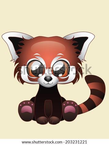Cute Red Panda vector illustration art - stock vector